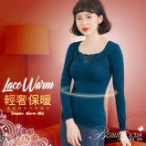 【BeautyFocus】台灣製輕機塑型蕾絲內搭保暖衣-2489土耳其藍
