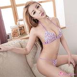 【Anna Mu】情趣內衣 迷紫花朵刺繡繞頸比基尼二件組