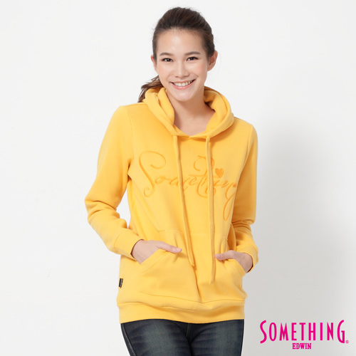 SOMETHING LOGO貼袋連帽T恤-女-黃色