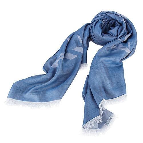 ARMANI COLLEZIONI 品牌大Logo流蘇薄圍巾-藍色