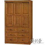 【優利亞-典雅雕花】4X7尺半實木推門衣櫥