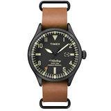 TIMEX 160周年刻劃時代日期皮帶錶-黑x咖啡
