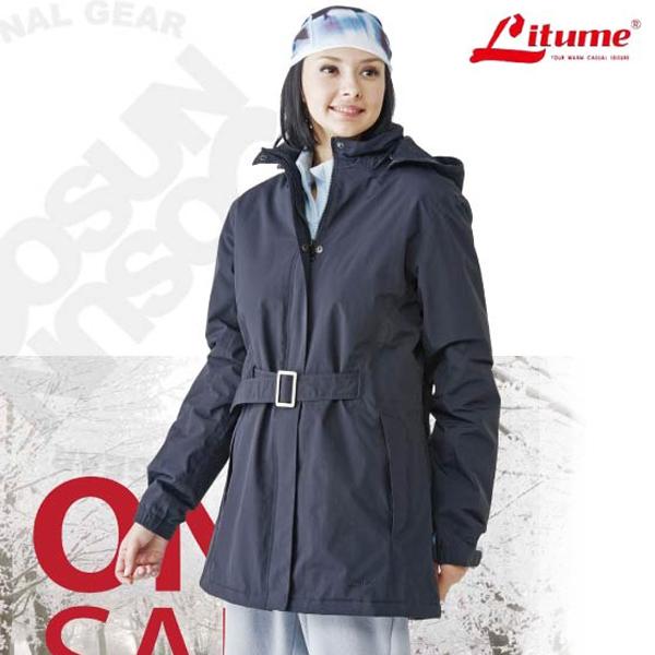 【意都美 Litume】女款 Primaloft One 單件式100%防水透氣長版保暖外套_ H7012 黑