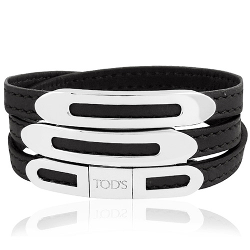 TODS 真皮壓紋三環釦手環-黑色【L號】