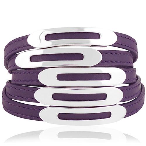 TODS 真皮壓紋六環釦手環-紫色【S/L號】