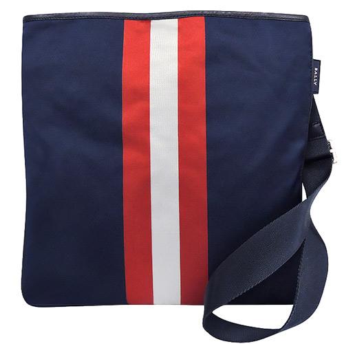 BALLY 輕量尼龍條紋斜背包-藍色【大型】