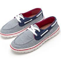 【Maya easy現貨36/38號】寬底版型 帆布鞋休閒鞋 情侶鞋(女款) 走路鞋-拼布風格-藍條紋鞋帶款
