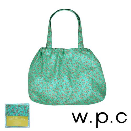 【w.p.c】時尚包包雨衣/束口防雨袋 (綠底小花)