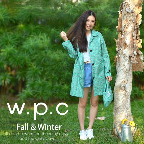 【w.p.c】雛菊釦子款。時尚雨衣/風衣(R1041)_綠色