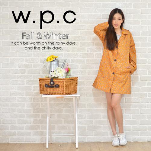 【w.p.c】雛菊釦子款。時尚雨衣/風衣(R1041)_橘色