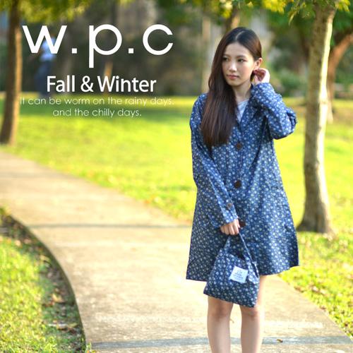 【w.p.c】雛菊釦子款。時尚雨衣/風衣(R1041)_深藍