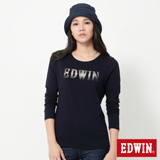 EDWIN 牛仔布紋LOGO長袖T恤-女-丈青色