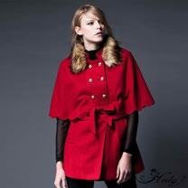 【Hedy赫蒂】雙排金釦毛領斗篷式綁帶毛呢外套(紅色)