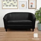 漢妮Hampton莫里斯皮面雙人椅-黑色(深咖啡色腳)/兩人座沙發/雙人沙發