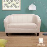 漢妮Hampton莫里斯皮面雙人椅-白色(深咖啡色腳)/兩人座沙發/雙人沙發