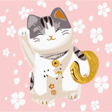 ArtLife藝術生活【DR024】開運貓 DIY 數字 油畫 彩繪 20*20cm