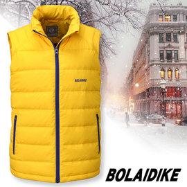 【波萊迪克bolaidike】男新款 立體配色輕量防潑水透氣立領保暖羽絨背心 黃 TC016