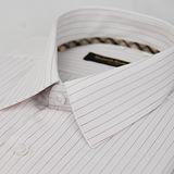 【金安德森】經典格紋繞領白底紅條紋長袖襯衫