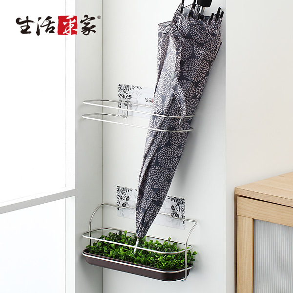 【生活采家】樂貼系列台灣製304不鏽鋼玄關陽台傘架#27212