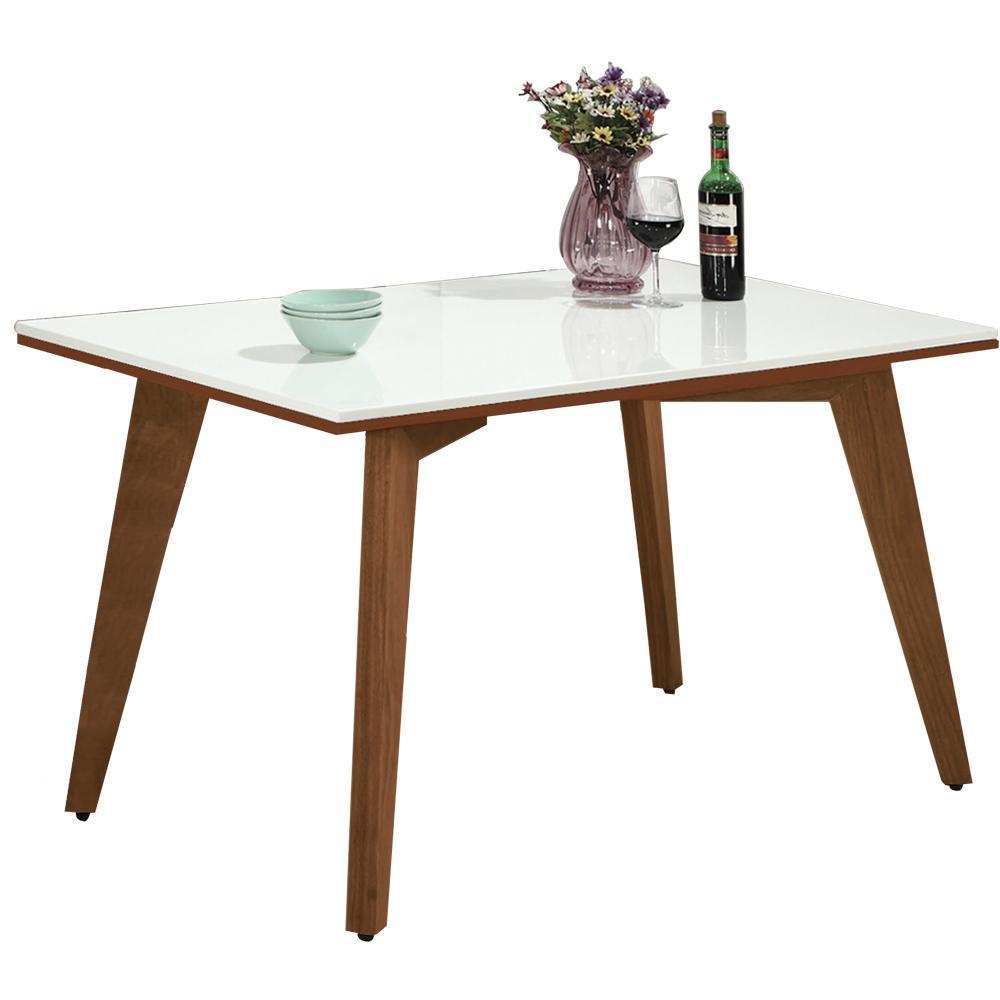 AT HOME-葛麗絲4.3尺胡桃漢白玉原石餐桌