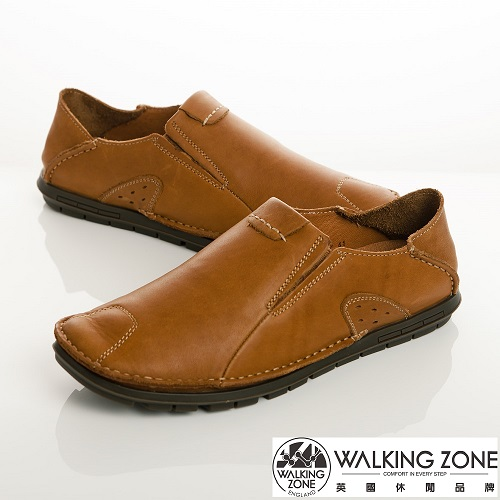 WALKING ZONE(男)英倫真皮自然風格開車鞋男鞋-棕(另有咖、棕)