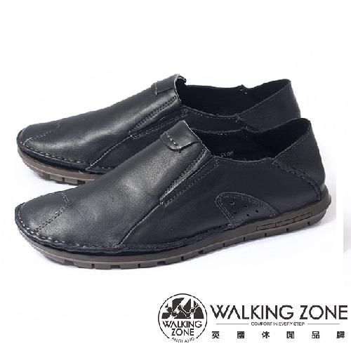 WALKING ZONE(男)英倫真皮自然風格開車鞋男鞋-黑(另有咖、棕)