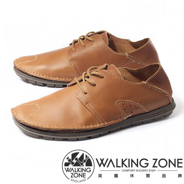 WALKING ZONE(男)真皮自然剪裁英倫皮革開車鞋綁帶-棕