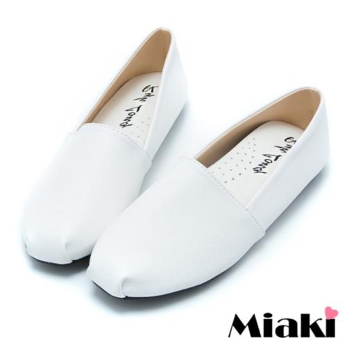 【Miaki】MIT 懶人鞋素面韓版平底休閒包鞋 (白色)