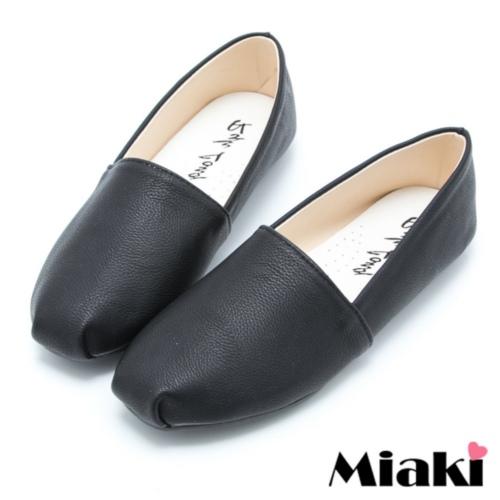 【Miaki】MIT 懶人鞋素面韓版平底休閒包鞋 (黑色)
