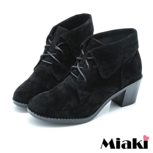 【Miaki】MIT 短靴直擊韓版牛津休閒踝靴 (黑色)
