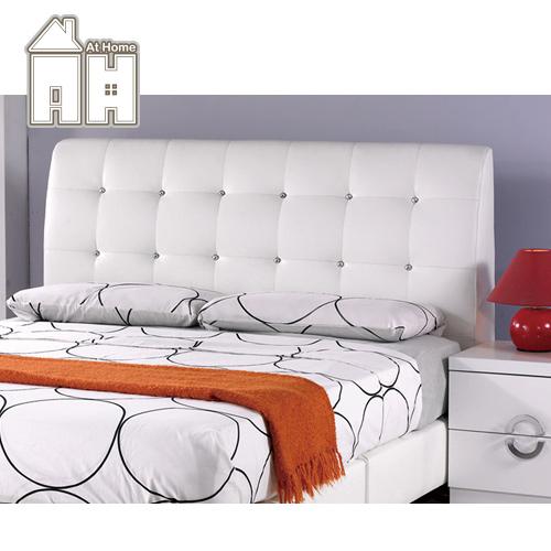 AT HOME-雪莉5尺白皮雙人床頭片(不含床底)