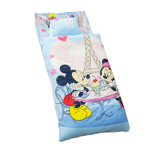 《Disney迪士尼》米奇米妮二用幼教兒童睡袋-甜蜜巴黎篇(藍)