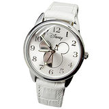 【Disney迪士尼】休閒腕錶-半面米奇(白)