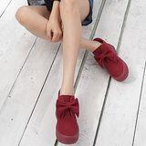 M oscova甜美百分可愛蝴蝶結厚底短靴-紅色