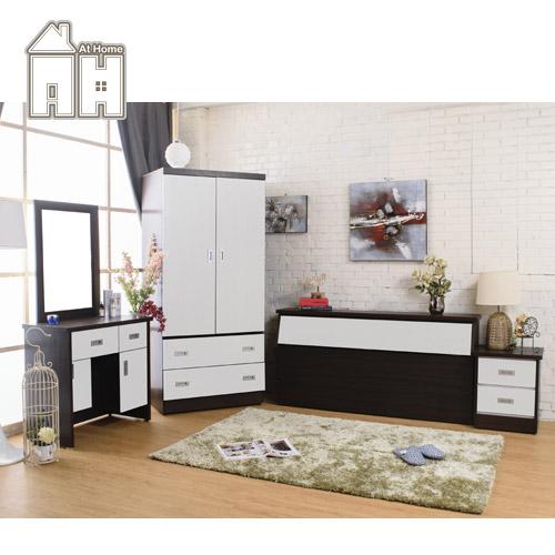 AT HOME-威尼斯胡桃白雙人四件臥室組(床頭箱+床頭櫃+化妝台+2.7尺衣櫃)