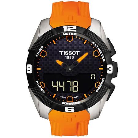 TISSOT T-TOUCH EXPERT 鈦金屬太陽能觸控腕錶-黑x橘色錶帶/45mm T0914204705101