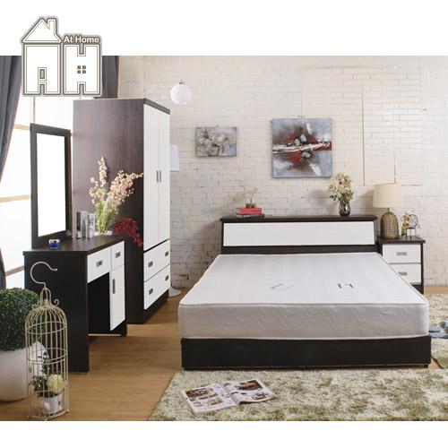 AT HOME-威尼斯胡桃白雙人六件臥室組(床頭箱+床頭櫃+化妝台+2.7尺衣櫃+五尺床底+獨立筒床墊)