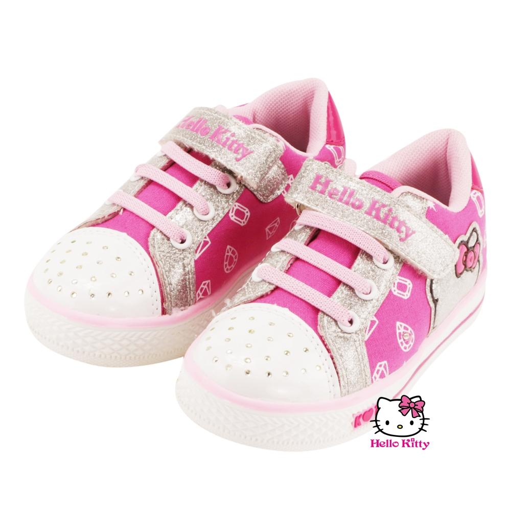 【MODAbobo】Hello Kitty 中大童段金蔥可愛童帆布鞋-桃紅 T5A8-715169