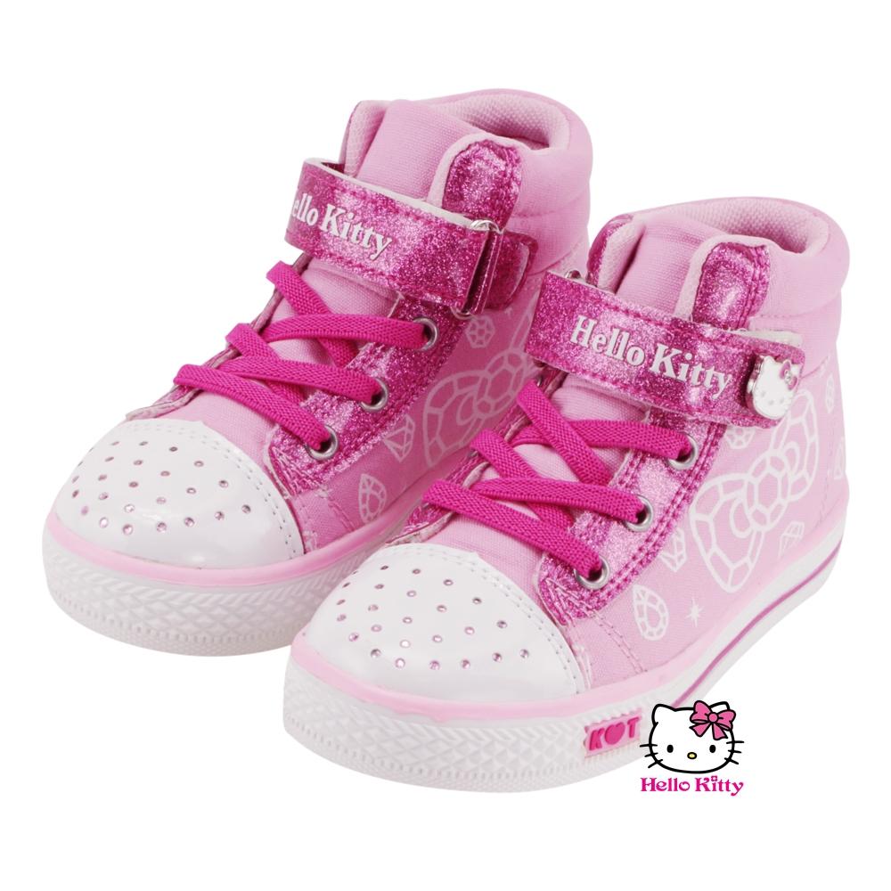 【MODAbobo】Hello Kitty 中大童段金蔥可愛高筒童帆布鞋-粉 T5A8-715170