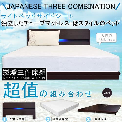 【HOME MALL-日式美學崁燈】雙人5尺三件式獨立筒床組(2色)