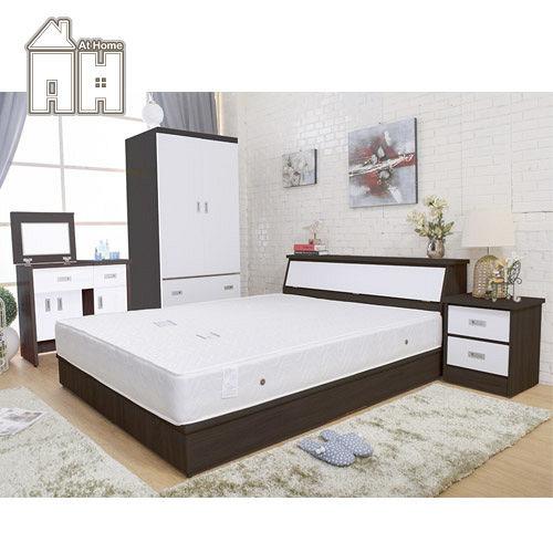 AT HOME-威尼斯胡桃白雙人六件臥室組(床頭箱+床頭櫃+掀鏡台+2.7尺衣櫃+五尺床底+獨立筒床墊)