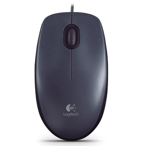 Logitech羅技 USB有線光學滑鼠M90-黑灰