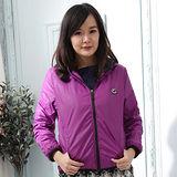 【Stoney.ax】韓版新款輕薄別緻連帽北極絨休閒外套-紫色