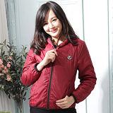 【Stoney.ax】韓版新款輕薄別緻連帽北極絨休閒外套-暗紅
