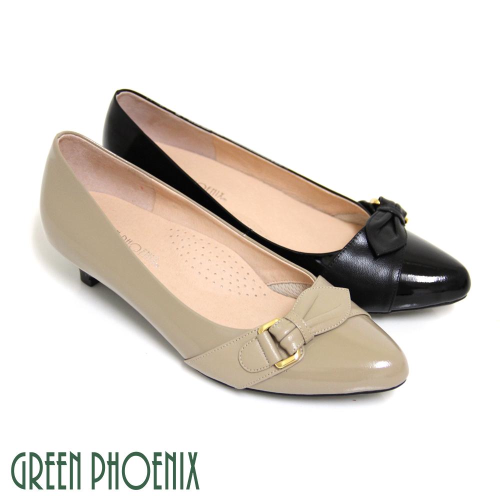 【GREEN PHOENIX 波兒德】精明俐落金屬皮飾扣牛漆皮低跟尖頭包鞋