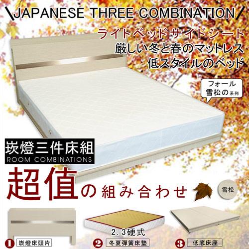 【HOME MALL-秋語雪松崁燈】雙人5尺三件式硬式彈簧床組