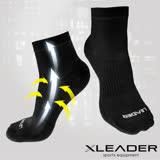 【LEADER】COOLMAX 運動專用薄型除臭機能襪 男款(黑色)