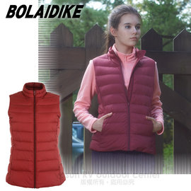 【波萊迪克bolaidike】女新款 立體橫格輕量防潑水透氣立領保暖羽絨背心 TC015 粉紅