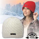 台灣製造【SNOW TRAVEL】3M Thinsulate 頂級素面麻花彈性保暖羊毛帽.毛線帽 AR-18 象牙白