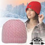 台灣製造【SNOW TRAVEL】3M Thinsulate 頂級素面麻花彈性保暖羊毛帽.毛線帽 AR-18 粉紅
